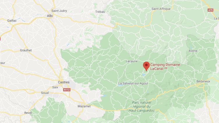 Le campingdu Domaine de Lacanal à Nages dans le Tarn. (CAPTURE D'ECRAN GOOGLE MAPS)