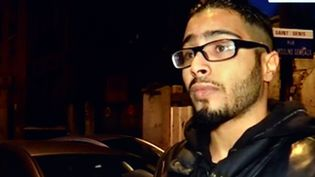 Capture d'écran de BFMTV qui a interviewé Jawad Bendaoud, juste avant son interpellation en marge de l'assaut à Saint-Denis (Seine-Saint-Denis), le 18 novembre 2015. (MAXPPP)