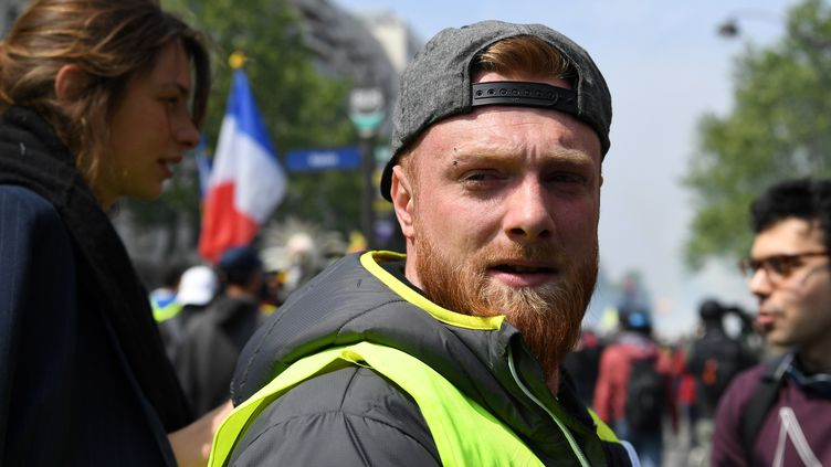 """Maxime Nicolle,alias""""Fly Rider"""", l'une des figures des """"gilets jaunes"""". (ALAIN JOCARD / AFP)"""