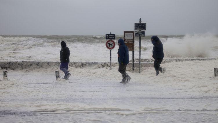 Vents forts et hautes vagues au Croisic (Loire-Atlantique), le 1er janvier 2014. (CAROLINE PAUX / CITIZENSIDE / AFP)