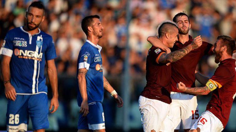 Radja Nainggolan félicité par ses coéquipiers de l'AS Roma (FILIPPO MONTEFORTE / AFP)