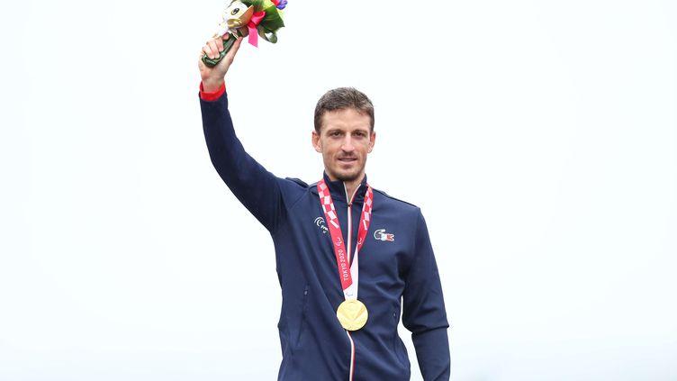 Le Français Kévin Le Cunff a remporté la médaille d'or sur la course en ligne, vendredi 3 septembre, à Tokyo. (ALEX WHITEHEAD /  SIPA / SHUTTERSTOCK)