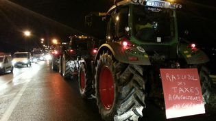 Des tracteurs en file indienne sur l'autoroute A13, jeudi 21 novembre 2013. (YANN THOMPSON / FRANCETV INFO)