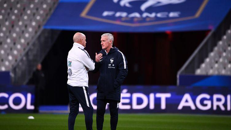 Didier Deschamps et son adjoint Guy Stéphan (FRANCK FIFE / AFP)