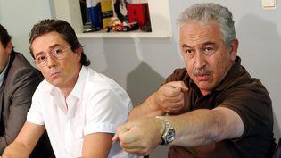 Conférence de presse de Stephan Turk, le bijoutier qui a tué un braqueur, le 18 septembre 2013, à Nice (Alpes-Maritimes). (MAXPPP)