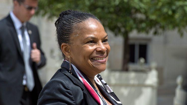 La ministre de la Justice,Christiane Taubira, à la sortie de l'Elysée, à Paris, le 25 juin 2014. (ALAIN JOCARD / AFP)