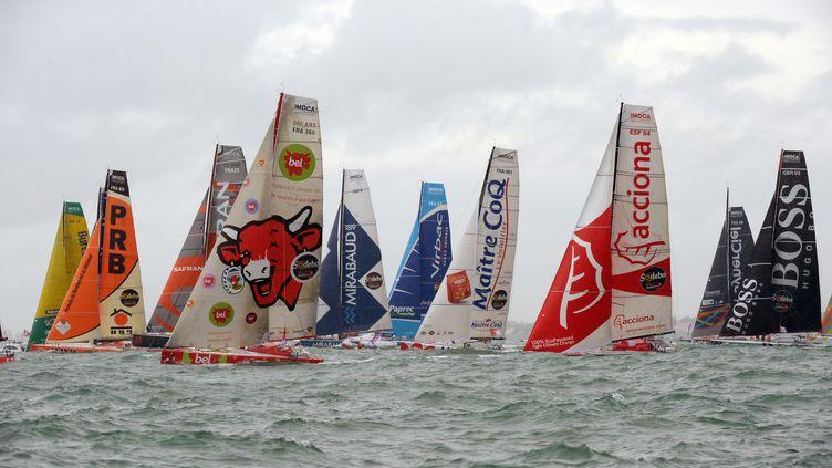 La flotte du Vendée Globe, le 10 novembre 2012 au large des Sables d'Olonne (Vendée). (DAMIEN MEYER / AFP)