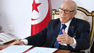 Beji Caid Essebsi dans son bureau à Carthage, le 5 juillet 2019. (SLIM ABID / TUNISIAN PRESIDENCY)