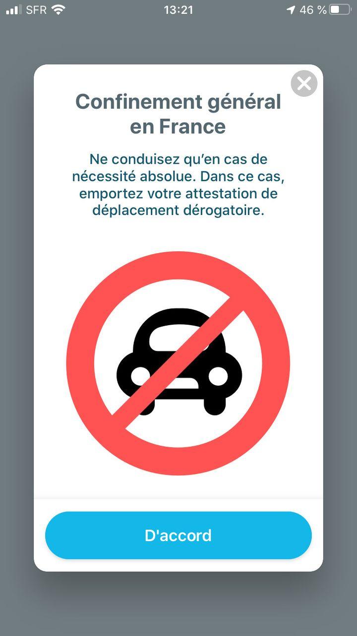 """Capture d'écran de l'application de navigation routière """"Waze"""", le 26 mars 2020. (ISABELLE GAUTIER / FRANCEINFO)"""