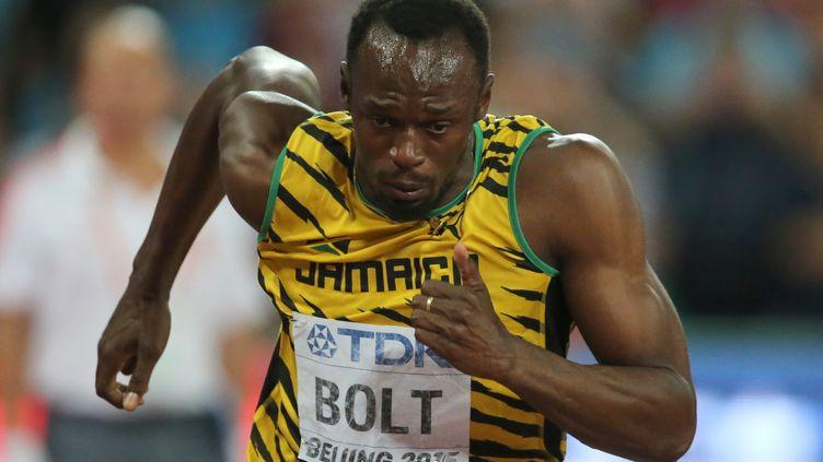 L'athlète jamaïcain Usain Bolt aux Mondiaux de Pékin (Chine), le 26 août 2015. (MICHAEL KAPPELER / DPA)