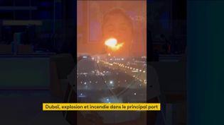 Un incendie dans le port de Dubaï (FRANCEINFO)