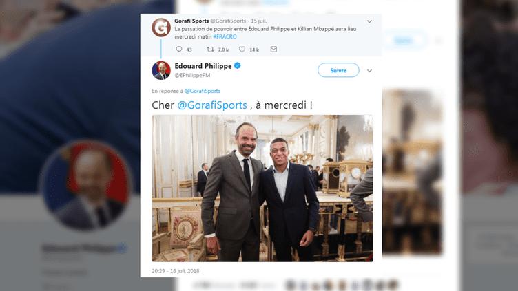 Le Premier ministre Edouard Philippe a publié une plaisanterie en réponse à un compte satirique qui imaginait Kylian Mbappé à la tête du gouvernement. (EDOUARD PHILIPPE / TWITTER)