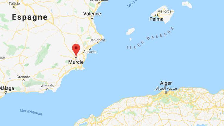 Quelque 200 migrants ont été recueillis au large de Murcie, au sud de l'Espagne, le 25 décembre 2019. (GOOGLE MAPS)