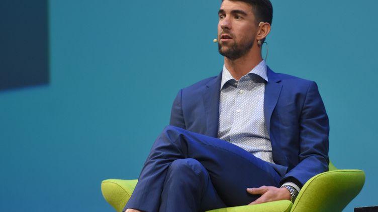 L'ancien nageur, Michael Phelps, lors d'une conférence à Mexico, le 26 octobre 2017. (CARLOS TISCHLER / NURPHOTO)