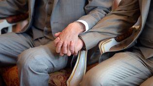 Deux hommes lors de leur cérémonie de mariage à Strasbourg (Bas-Rhin), le 15 juin 2013. (PATRICK HERTZOG / AFP)