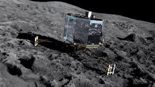 """Une image 3D, fournie par l'Agence spatiale européenne le 20 décembre 2013, du robot Philae sur la comète """"Tchouri"""". (MEDIALIAB / ESA / AFP)"""