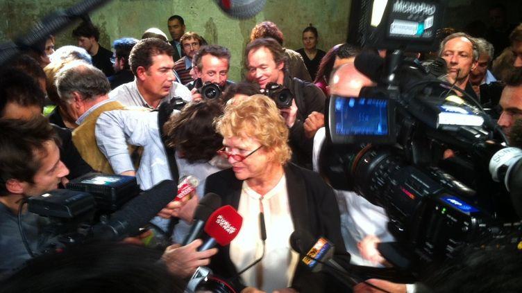 Eva Joly, lors de la présentation de son équipe de campagne jeudi 1er novembre à Paris (ST)