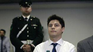 Le Chilien Nicolas Zepeda, principal suspect dans l'affaire de la disparitiondeNarumi Kurosaki, lors de son audience d'extradition au tribunal de Santiago (Chili),le 5 mars 2020. (CLAUDIO REYES / AFP)