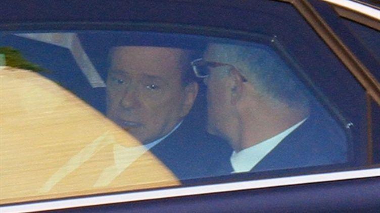 Le président du Conseil italien, Silvio Berlusconi, arrivant au tribunal de Milan le 11 avril 2011 (AFP - GIUSEPPE CACACE)