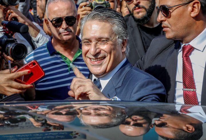 Nabil Karoui, patron de la chaîne Nessma TV et candidat à la présidentielle, lors du 2e tour de l'élection à Tunis le 13 octobre 2019 (AFP - YASSINE GAIDI / ANADOLU AGENCY)