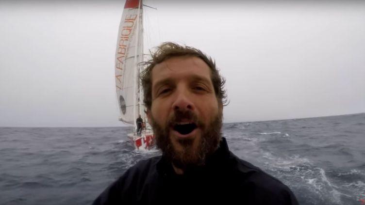 Eric Bellion, le 24 décembre 2016 au large de la Tasmanie. (YOUTUBE / VENDEE GLOBE TV)