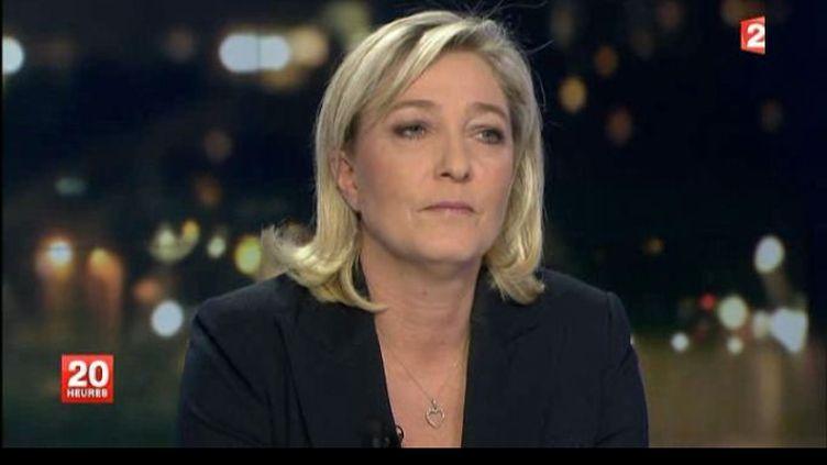 Marine Le Pen sur le plateau du journal de 20 h, le 1er mars 2012. (FTVI)
