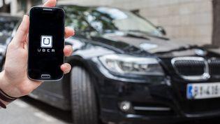 Illustration de l'application de VTC Uber. (PIERRE GAUTHERON / HANS LUCAS / AFP)