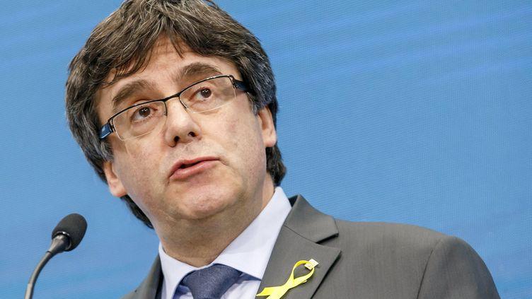L'ex-président catalan, Carles Puigdemont, arrêté en Allemagne dimanche 25 mars, lors d'un discours sur l'indépendance de la Catalogne à Genève, le 21 mars 2018. (MAXPPP)