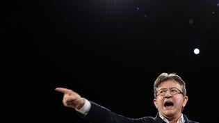 Le candidat de La France insoumise Jean-Luc Melenchon en campagne à Deols, le 2 avril 2017. (GUILLAUME SOUVANT / AFP)