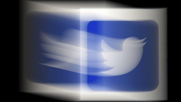 Le logo Twitter legèrement flouté. (OLIVIER DOULIERY / AFP)