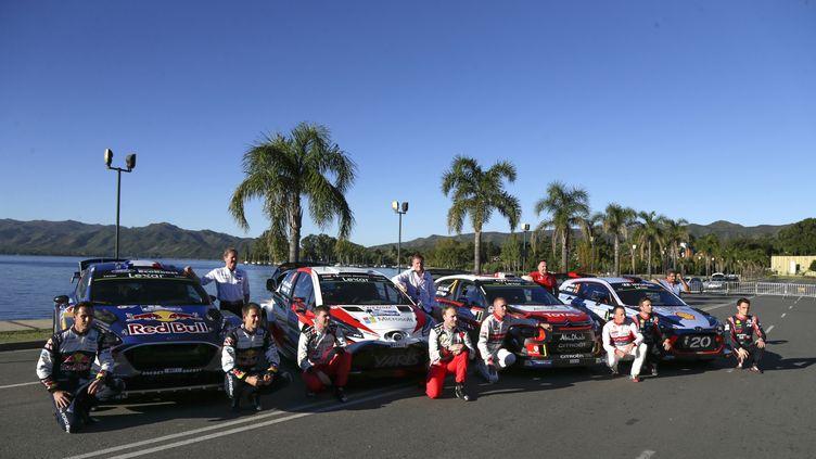 La présentation officielle des quatre constructeurs présents pour se disputer la victoire lors de la 35e édition du Rallye d'Argentine. (DIEGO LIMA / AFP)