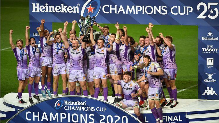 Exeter soulève sa première Champions Cup après sa victoire contre le Racing 31-27 (GLYN KIRK / AFP)