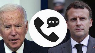Six jours après la rupture du « contrat du siècle » entre la France et l'Australie concernant la vente de 12 sous-marins français, Emmanuel Macron et JoeBidenont eu une conversation, mercredi 22 septembre, pour restaurer la confiance entre les deux pays. (CAPTURE ECRAN / FRANCEINFO)