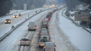 L'autoroute A9, près de Montpellier (Hérault), après les chutes de neige, le 28 février 2018. (PASCAL GUYOT / AFP)