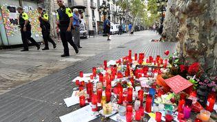 Les Ramblas de Barcelone (Catalogne), au lendemain de l'attentat du 17août 2017. (PASCAL GUYOT / AFP)
