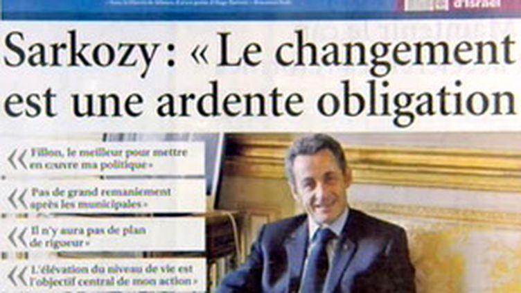 Nicolas Sarkozy en Une du Figaro (06/03/2008) (© France 2)
