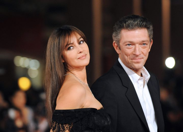 Monica Bellucci et Vincent Cassel au festival international du film de Rome (Italie), le 23 octobre 2008. (ALBERTO PIZZOLI / AFP)