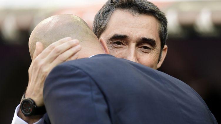 Si Zidane a quitté le Real, Valverde sera toujours sur le banc du Barça. (JAVIER SORIANO / AFP)