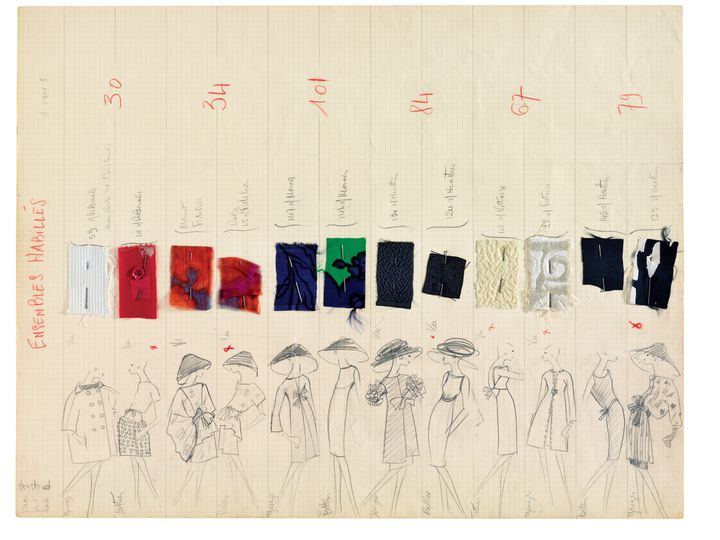 Planche de collection printemps-été 1962  (Courtesy of YSL)