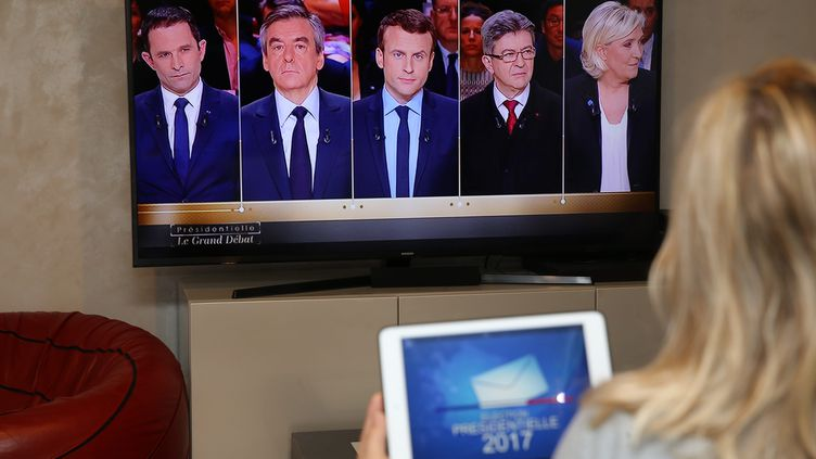 Le débat entre les cinq candidats favoris des sondages a duré près de trois heures trente, le 20 mars 2017 sur TF1. (MAXPPP)