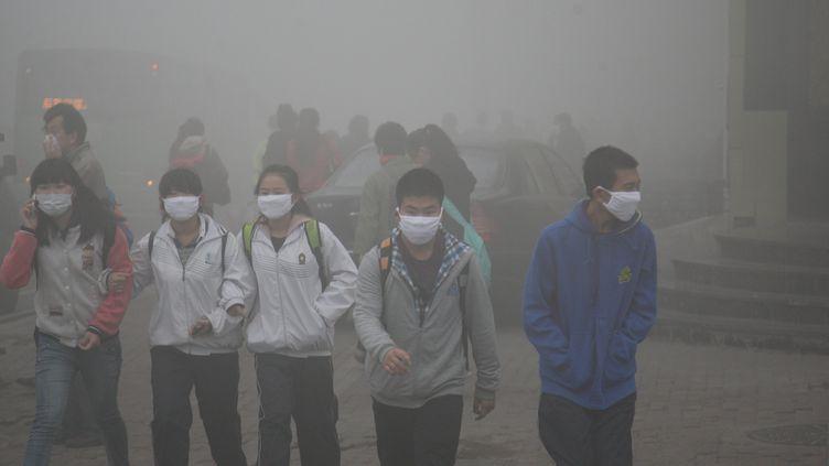Les habitants deHarbin, au nord-est de la Chine, portent des masques pour se protéger de la pollution, le21 octobre 2013. (CHENG QIANG / AFP)