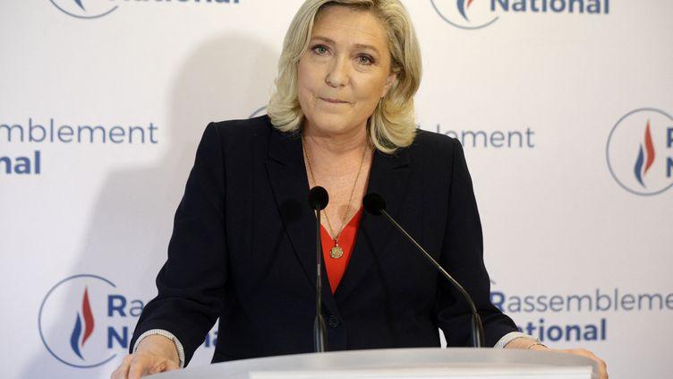 Marine Le Pen, présidente du Rassemblement national après les résultats des élections régionales, à Nanterre le 27 juin 2021 (GEOFFROY VAN DER HASSELT / AFP)