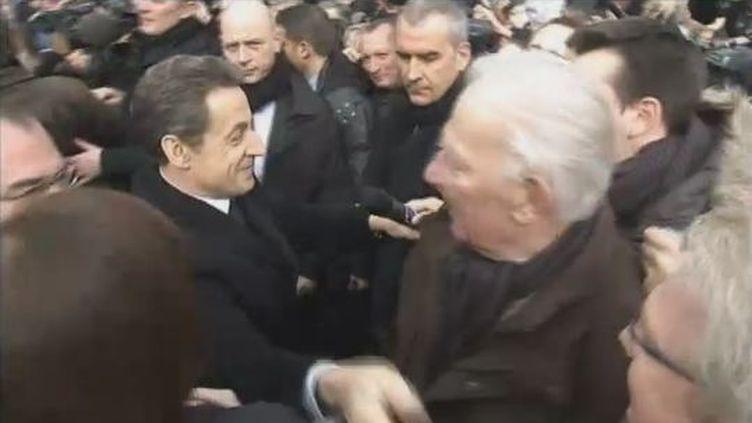 Nicolas Sarkozy à Annecy (Haute-Savoie), le 16 février 2012. (FTVI / FRANCE 2)