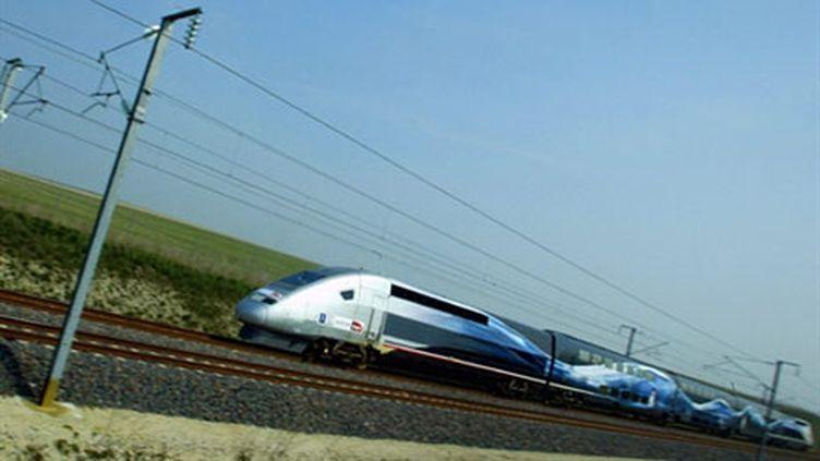 Le TGV lors d'un nouveau record de vitesse à 574.7 kilomètres par heure entre Paris et Strasbourg. (AFP - François Nascimbeni)