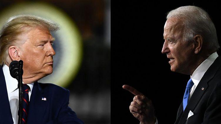 Donald Trump et Joe Biden lors des conventions des républicains et des démocrates (montage). (BRENDAN SMIALOWSKI / OLIVIER DOULIERY / AFP)