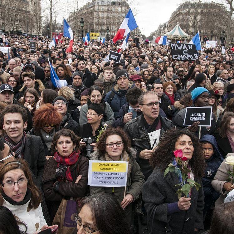 La marche républicaine à Paris, dimanche 11 janvier 2015, après les attentats commis du 7 au 9 janvier 2015. (ROLLINGER-ANA / ONLY FRANCE/AFP)