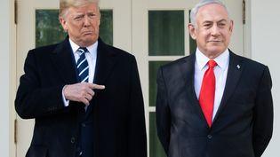 Le président américain Donald Trump (à gauche) et le Premier ministre israélienBenyaminNetanyahu (à droite) à la Maison blanche à Washington, le 27 janvier 2020. (SAUL LOEB / AFP)