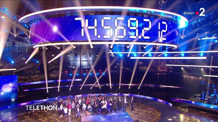 Le compteur de la 33e édition du Téléthon a atteint 74,6 millions d'euros, dimanche 8 décembre. (FRANCE 2)