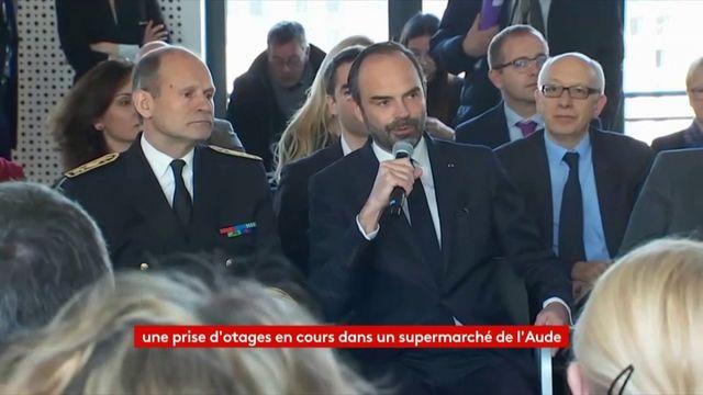 """Prise d'otage dans un supermarché de l'Aude : une """"situation sérieuse"""", selon Edouard Philippe"""