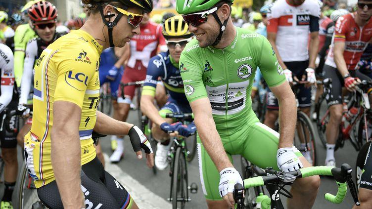 Peter Sagan et Mark Cavendish lors du Tour de France 2016 (JEFF PACHOUD / AFP)
